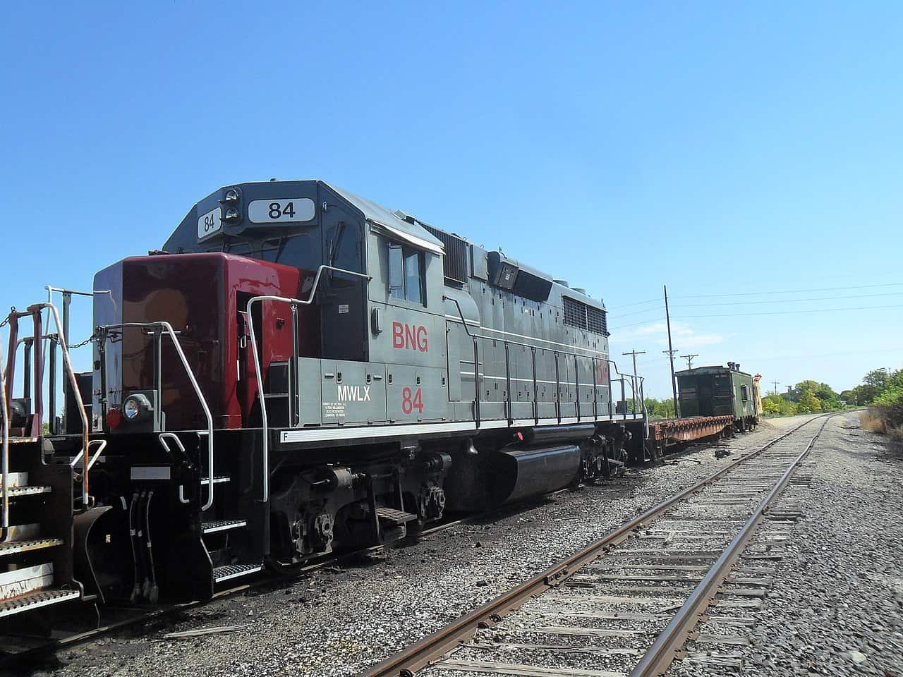 BNG 84, an EMD GP38-2, sits in the railyard at Blackwell, Oklahoma. Railroad jobs in Oklahoma